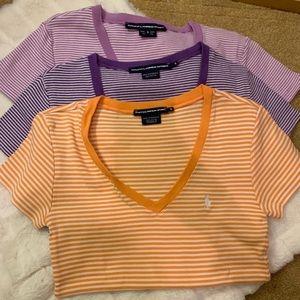 ralph lauren stripped v-neck t-shirts